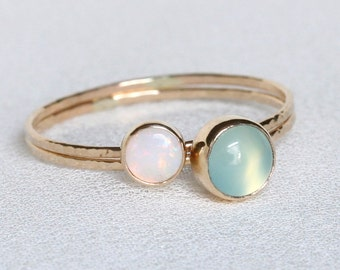 SOLID 14k Gold - Set of Two - Natural Fiery AAA Opal and Aqua Chalcedony Set - Simple Beautiful SOLID 14k Gold Stack Rings