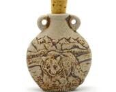 Clay Bottle, Bear Bottle Pendant, 1pc, Unglazed Clay Bottle, Raku Bottle -R39