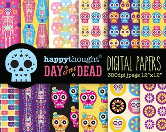 12 High resolution Day of the Dead digital scrapbooking papers + 10 Day of the Dead digital .png images. Instant download by Happythought.