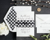 Letterpress Wedding Invitation, Modern Wedding Invitation, Gold Foil Wedding Invitation, Black and White, Elegant, Formal