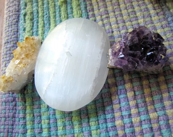 Selenite Large Stone Amethyst Mini Geode & Citrine Cluster Lightworker /Reiki Set/Altar Crystal Collection