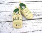 Classic Vegan Earth Day Recycle  All Fabric Soft Sole Baby Shoes / Made to Order / Babies