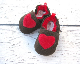 Wool A Little Heart All fabric Soft Sole Baby Shoes   Made to Order Red