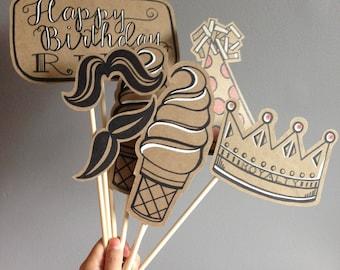 Customized Caption Handmade Birthday Photo Prop Set of 7 Pieces