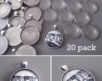 20 Antique Silver 30mm Pendants with Glass Covers