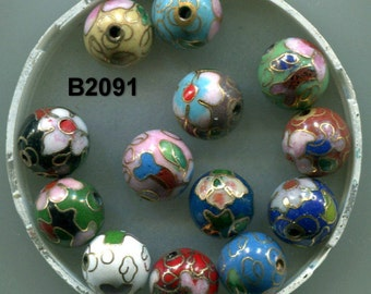 Cloisonne Round Beads, Hand Made, Quality, Classic, Many Colors, B2091*