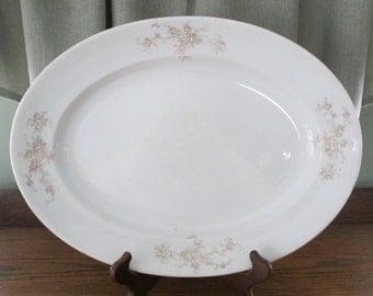 Antique White Ironstone Mercer Roses Platter, Vintage Serving Dish, Mercer White , Kitchen, Home Decor