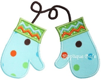 058 Mittens Machine Embroidery Applique Design