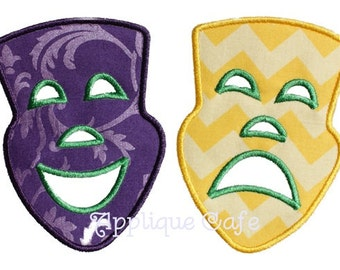 255 Comedy Tragedy mask Machine Embroidery Applique Design