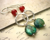 Earthy Green kyanite red carnelian Fine Silver Hammered Circle dangle Earrings minimal jewelry Hand forged