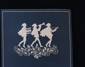 Vintage Holiday Christmas Greeting Card Set - Musicians BLUE Lot of 15