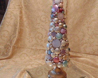 Bejewled Christmas Tree Upcycled Vintage Jewelry Moondrops Collage Mosaic Shabby Chic Mixed Media Assemblage Art