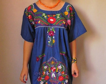 Mexican Blue Dress Elegant Summer Flowers Embroidered Handmade Large