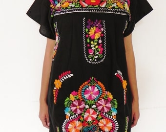 Mexican Black Mini Dress Floral Colorful Embroidered Handmade Spring / Summer Medium / Large