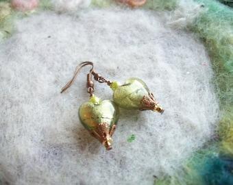 Beaded Heart Earrings, Lamp Work Beads, Romantic,Valentine,Sweetheart Earrings/Jewelry