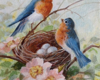Bluebird Family MiniPrint ~ Bluebirds with nest and eggs with flowers