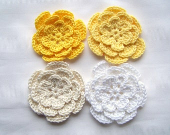 Appliques flowers  2.5inch cotton white cream yellow set of 4