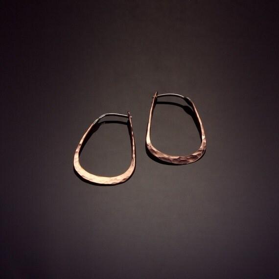 Copper Pear Shaped Hoop Earrings // Extra Small Elliptical Hoop Earrings