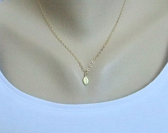 Tiny Leaf Necklace in Gold, Gold Filled Chain, Minimalist jewelry, Layering