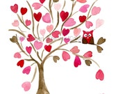 Owl on Hearts Tree art  Print, Personalized print , Valentine gift,  girls wall art , baby shower , nursery decor, pink brown