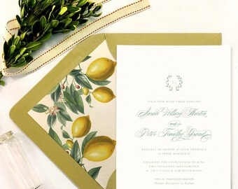 50 qty - Wedding Invitation, RSVP + Envelopes -  Laurelhurst