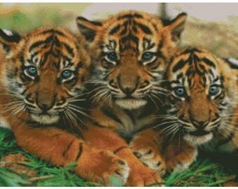 Tiger Cubs Cross Stitch Pattern