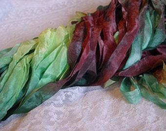 Hand Dyed ribbon - beautiful RAINFOREST half inch ribbon, 5 yards