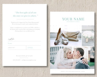 Wedding Photographer Gift Card Template (digital Photoshop files) - INSTANT DOWNLOAD - m0096