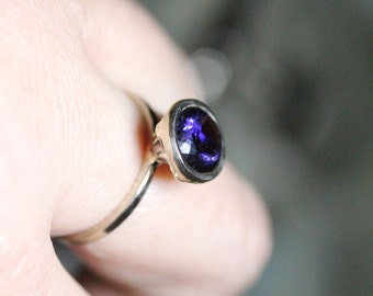 Iolite 14K Palladium White Gold Engagement Ring, Gemstone Ring, Stacking RIng, Milgrain Inspired, Eco Friendly - Made To Order