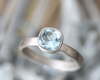 Aquamarine Sterling Silver Ring, Gemstone Ring, Cushion Cut Ring, No Nickel, Eco Friendly, Engagement Ring, Stacking Ring - Made To Order