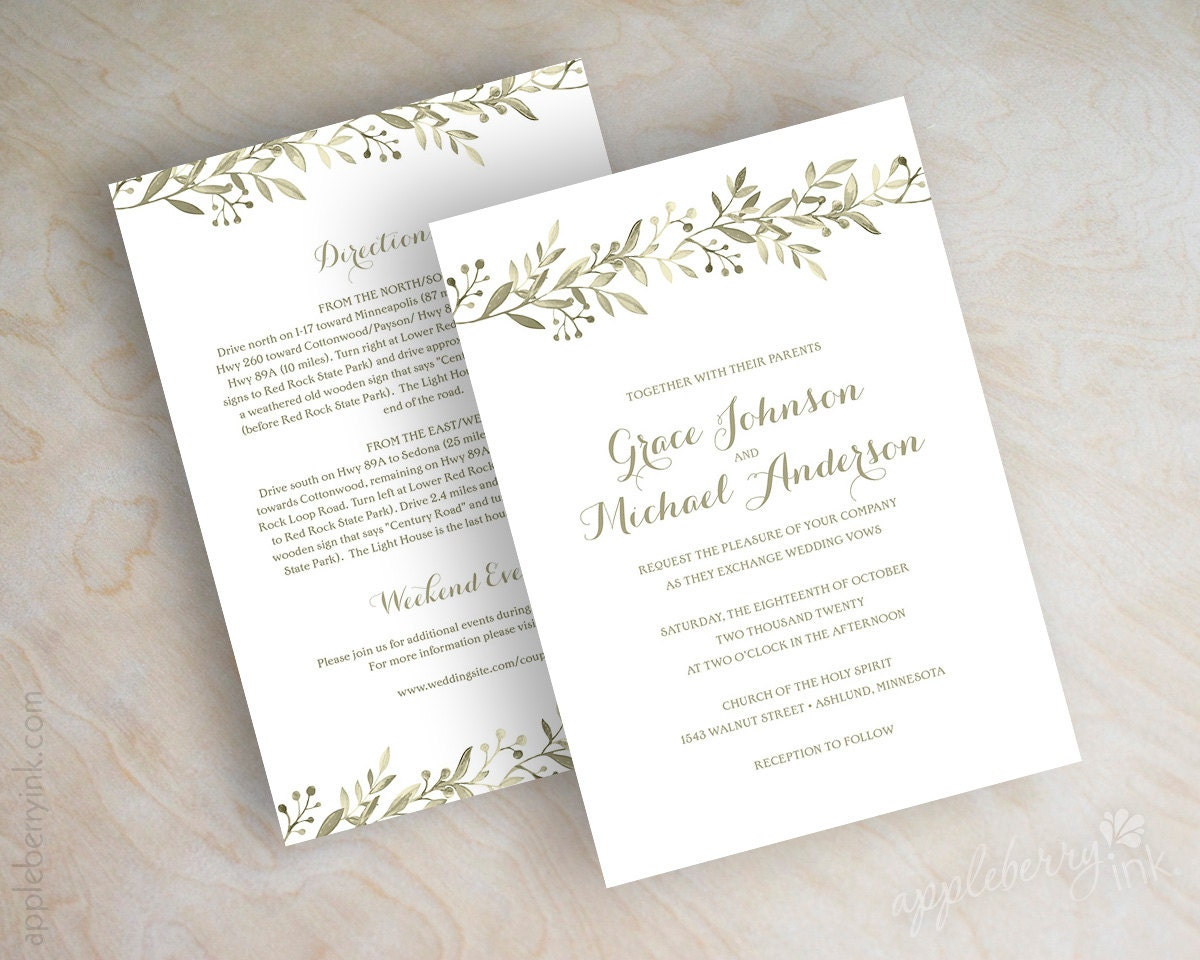 Garden Wedding Invitations: Botanical Garden Wedding Invitations Vineyard Italian