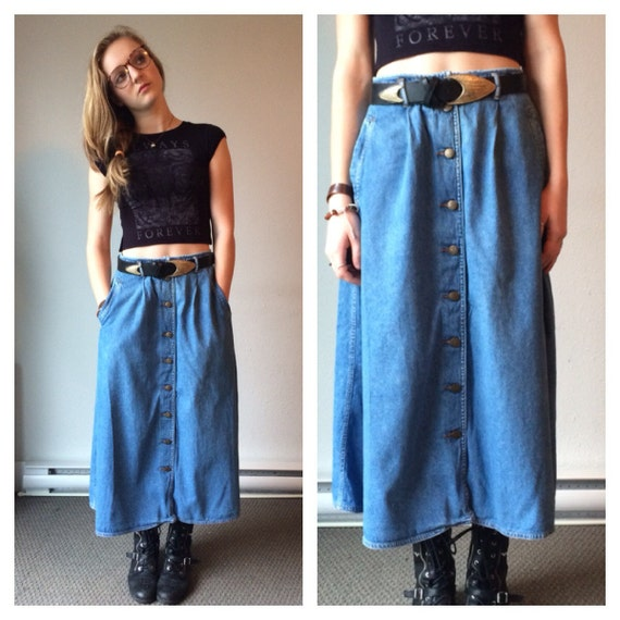 80s Denim Midi Skirt Button Down High Waist Jean Circle