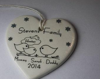 CUSTOM with memorial - Family Christmas Ornament -your family's names and year