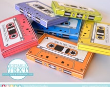 Cassette Tape Box - 7 EDITABLE boxes - gift card holder, party favor boxes - Instant Download D.I.Y. Printable PDF Kit