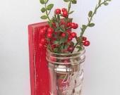 Christmas red wall vase sconce - mason jar