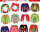 Buy 2, Get 1 FREE - Ugly Christmas Sweater Christmas Clipart - Digital Ugly Christmas Sweater Christmas Clipart - Instant Download