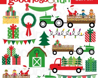 Buy 2, Get 1 FREE - Santa's Hayride Christmas Clipart - Digital Christmas Clipart - Instant Download