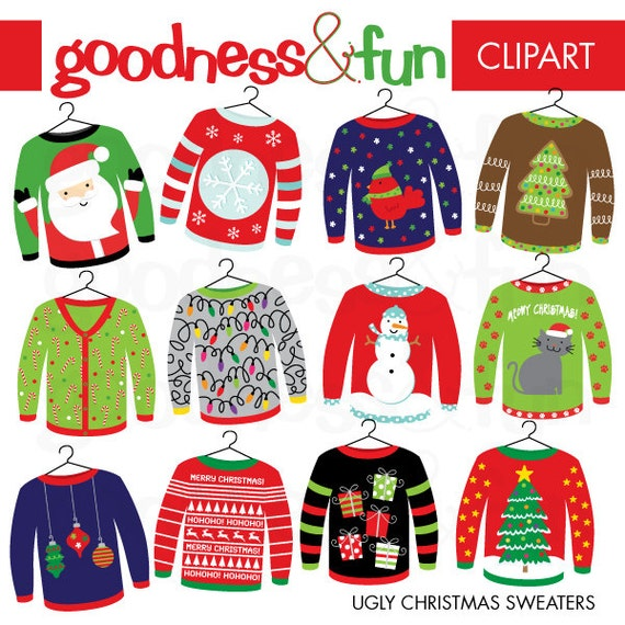 Digital ugly christmas sweater christmas clipart instant download