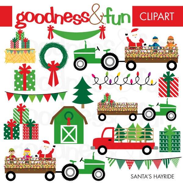 Buy 2 Get 1 FREE Santa's Hayride Christmas Clipart
