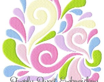 Swirly Easter Egg Embroidery Design