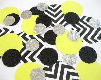 NEW Mixed Up - Confetti Celebration-Black/White/Yellow/Silver/Glitter - Parties/Showers/Weddings/Holidays/Table Decor/DIY Garland