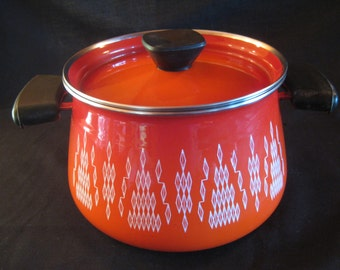 Retro Dark Orange Enamel Pot, lid & tray set.  Atomic Diamond pattern. Scandinavian Stockpot, Saucepan, Chafing, Fondue pot. TheRetroLife