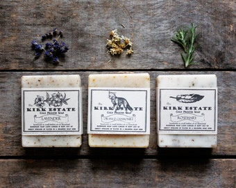3 Large Bars // cold process soap // handmade soap // soap gift set // organic ingredients // lightly scented // spa + relaxation // natural