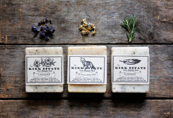 3 Large Bars, cold process soap, handmade soap, soap gift set, organic ingredients, lightly scented, spa + relaxation, natural soaps