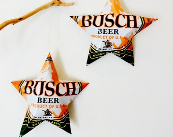 Busch Beer Regular or Camo Orange Stars Christmas Ornaments Aluminum Can Upcycled