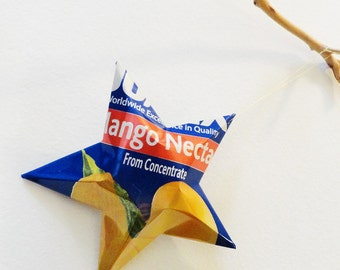 Jumex Mango Nectar Can Star Ornament Upcycled Repurposed Recycled