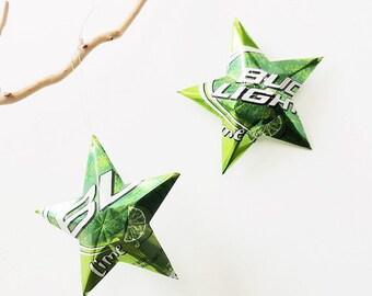 Bud Light Lime Beer Stars Christmas Ornaments Aluminum Can Upcycled Budweiser Oktoberfest