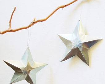 Aluminum Can Stars Christmas Ornaments Gift Topper Upcycled Recycled Plain Aqua