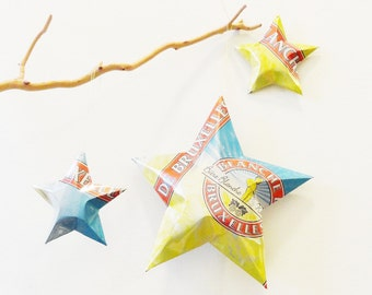 Blanche de Bruxelles - Brussels White Biere Blanche Christmas Ornaments Stars, set of three