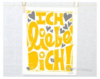 Ich Liebe Dich, I love you, German, German wall art, Kids room art, Modern Nursery Art, Germany, Valentine's Day, Valentine Gift